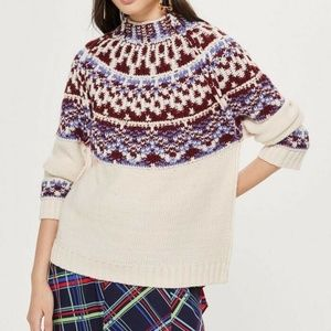 Topshop Reverse Fair Isle Inside Out Sweater